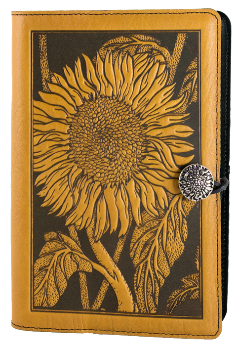 Small Leather Journal -  Sunflower in Marigold