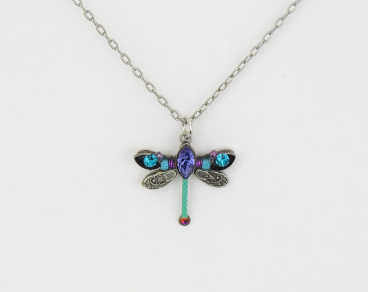 Teal Petite Dragonfly Pendant Necklace by Firefly Jewelry