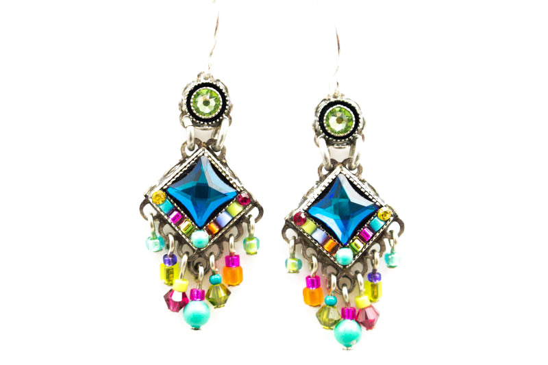 Multi Color Bright Mini Chandlier Earrings by Firefly Jewelry