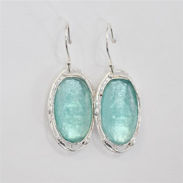Delicate Orbit Oval Washed Roman Glass Earrings