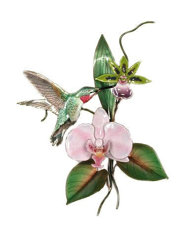 Broad Tailed Hummingbird with Pink Orchid Wall Art by Bovano Cheshire