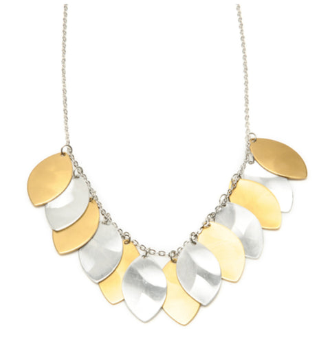 Mix Metal Multi Leaf Drops Necklace