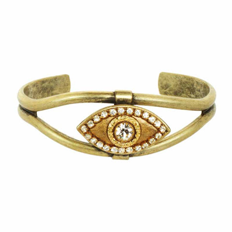 Gold and Crystal Eye Cuff Bracelet by Michal Golan