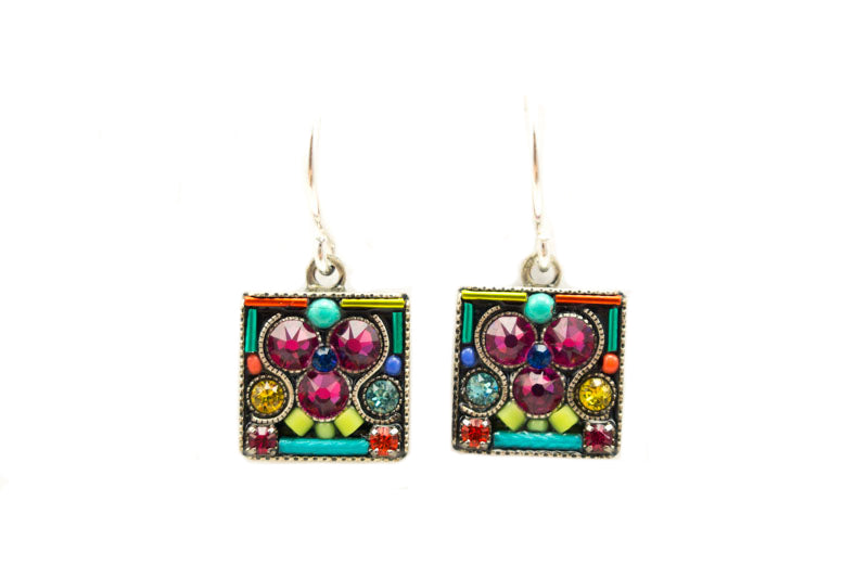 Multi Color Geometric Small Square Earrings by Firefly Jewelry