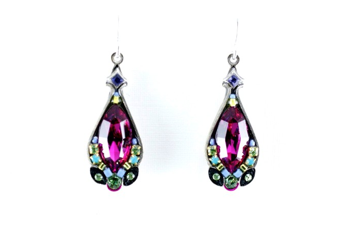 Multi Color Large Crystal Earrings by Firefly Jewelry