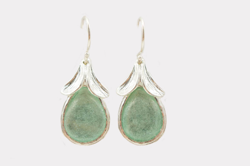Top Leaves Washed Roman Glass Earrings