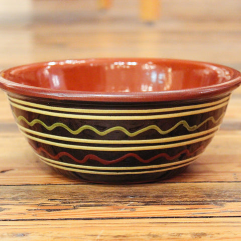 Redware Bowl with Green, Red and White Lines