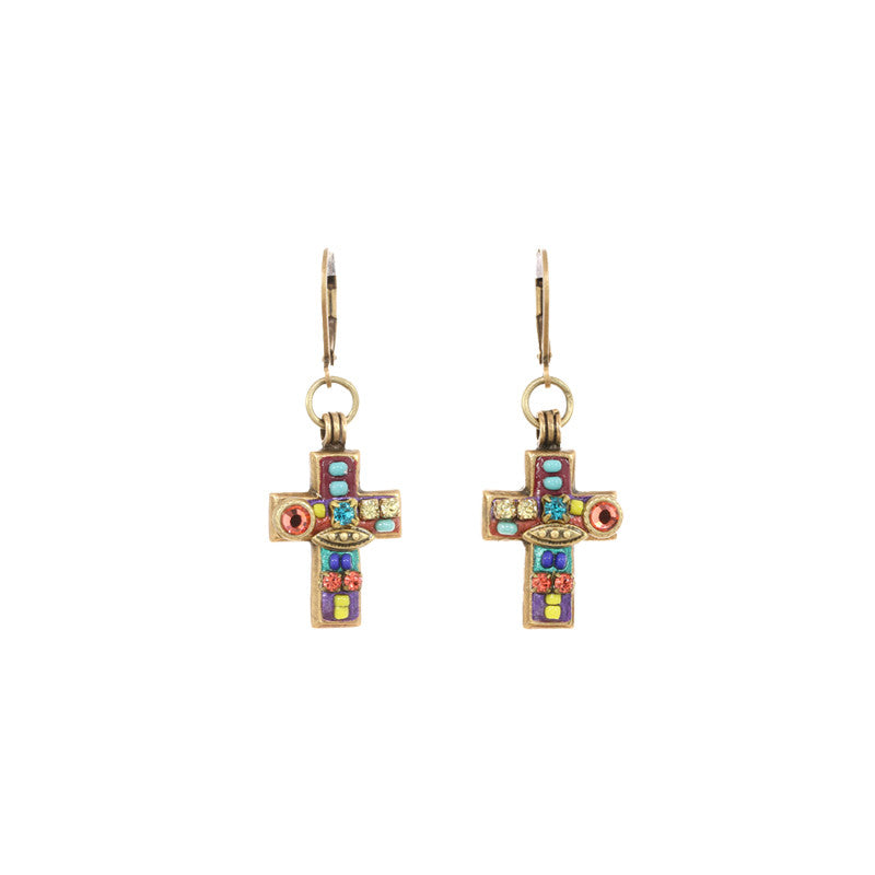 Multi Bright Dangle Cross Earrings by Michal Golan