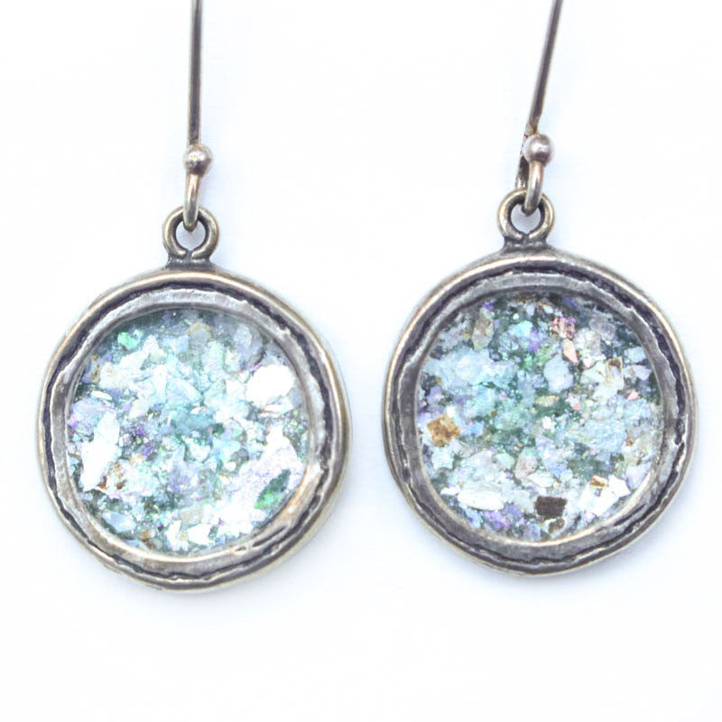 Medium Circle Roman Glass Earrings