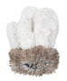 Cuddly in Black with Cuddly in Ivory with Arctic Fox Luxury Faux Mittens