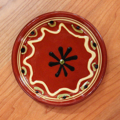 Redware Coaster with Black Snowflake