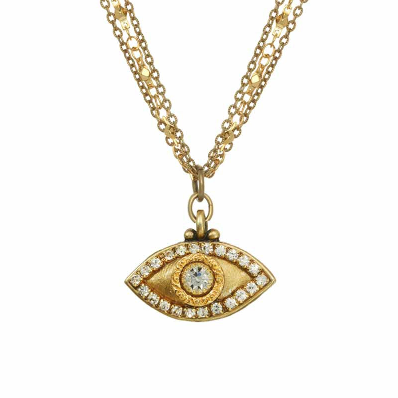 Gold and Silver Evil Eye Necklace by Michal Golan