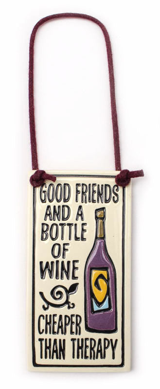 Cheaper Than Therapy Wine Tag Ceramic Tile