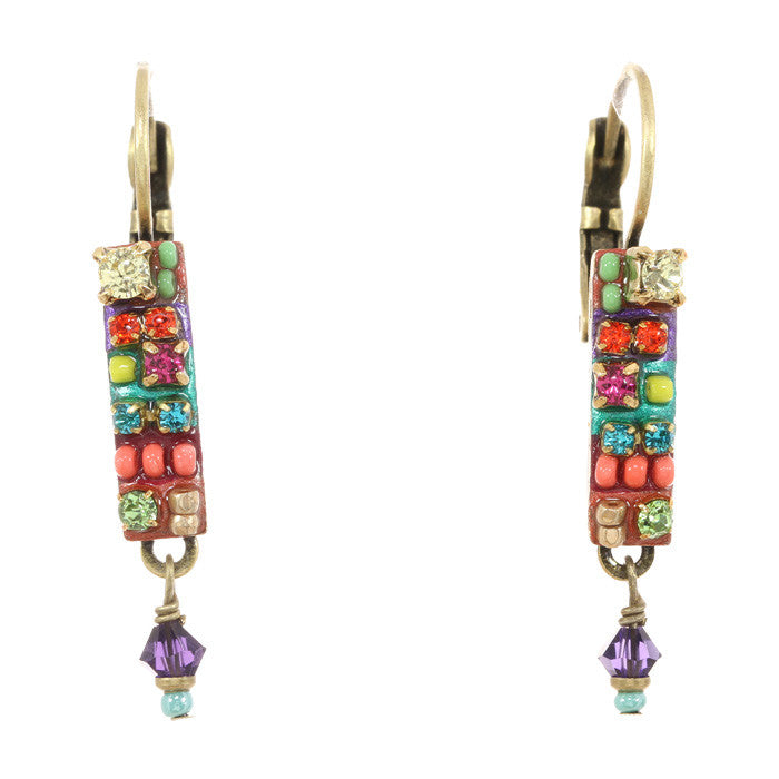 Multi Bright Skinny Rectanle with Dangle Earrings by Michal Golan