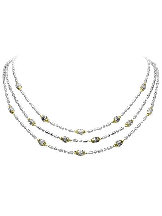 Beaded Pave Triple Strand Necklace by John Medeiros