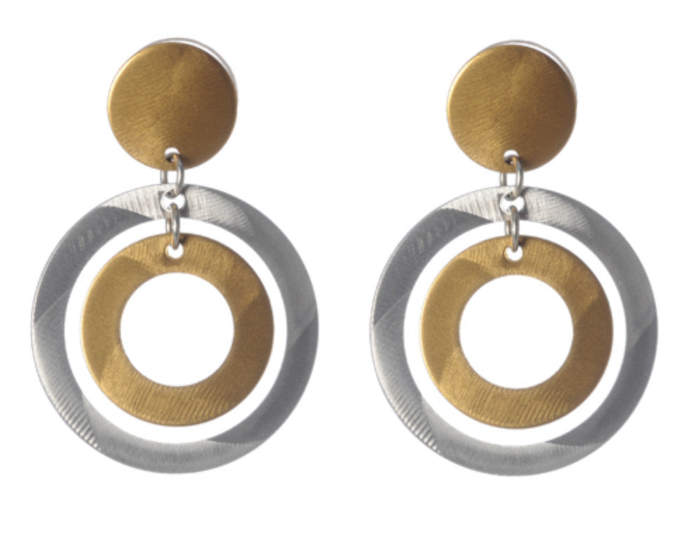 Bullseye Double Circle with Top Earrings