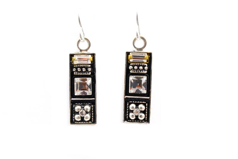 Black and White La Dolce Vita Rectangle Earrings by Firefly Jewelry