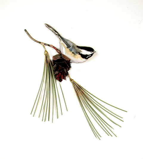 Chicadee on Pine Needles with Pine Cone Wall Art by Bovano Cheshire