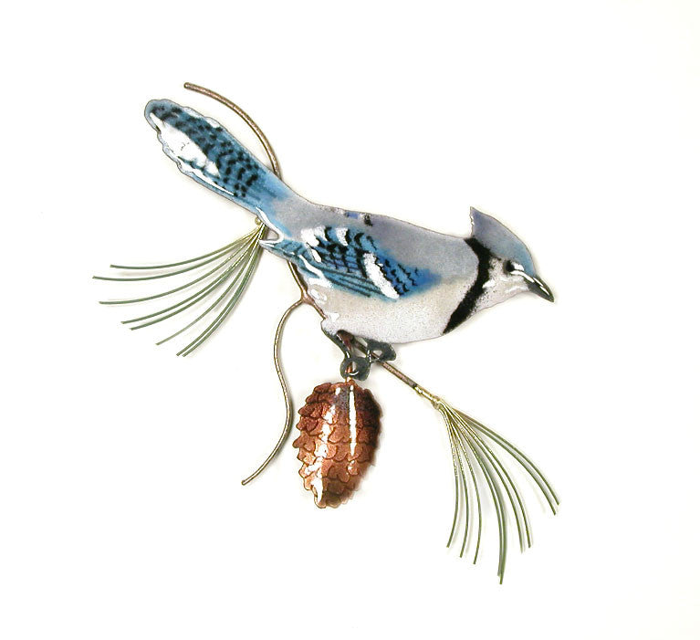 Blue Jay on Pine Branch Wall Art by Bovano Cheshire