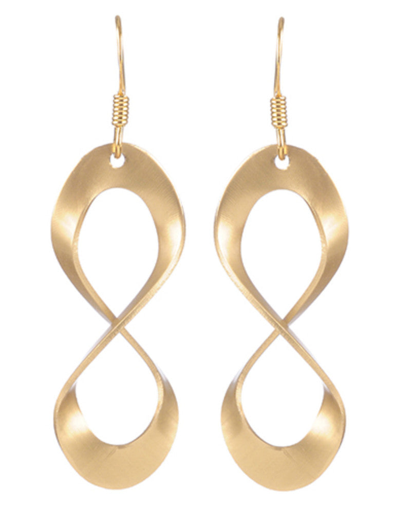 Gold Small Open Oval Twist Earrings