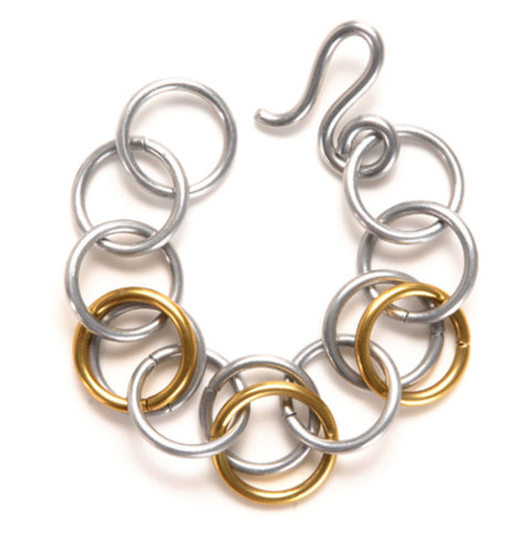 Mix Metal Multi Double Loops Bracelet