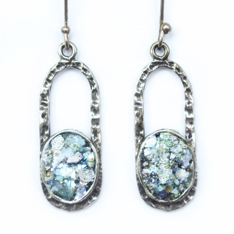 Oblong Dangle with Circle Roman Glass Earrings