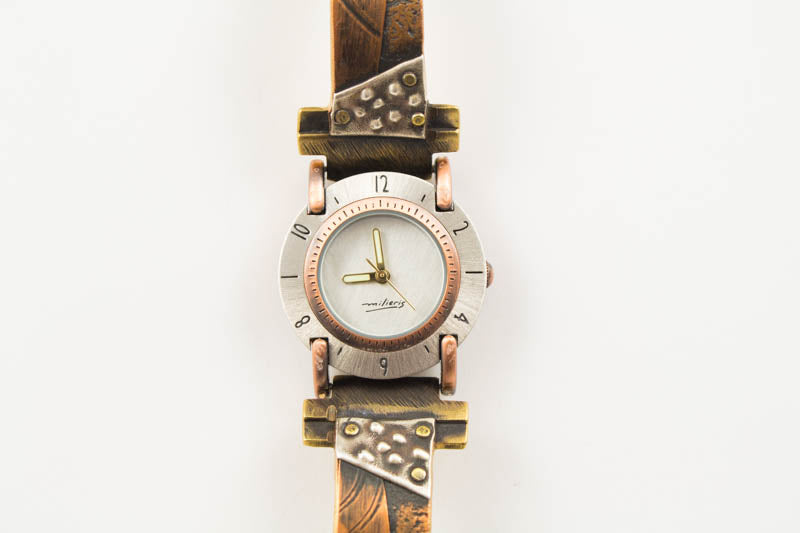 Copper Concrete Design Overlap with Copper Spiral Design on Narrow Band Watch