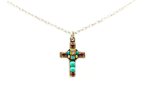 TurquoisePetite Cross Necklace by Firefly Jewelry