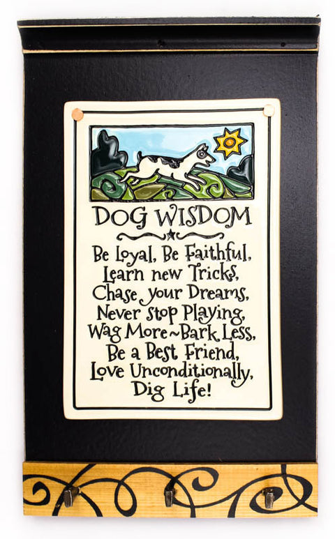 Dog Wisdom Ceramic Tile on Wooden Keyholder