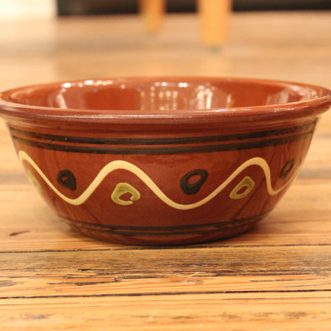 Redware Bowl with Lines and Polka Dots