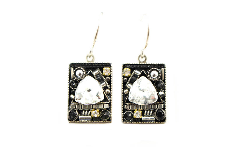 Black and White Geometric Large Square Earrings by Firefly Jewelry
