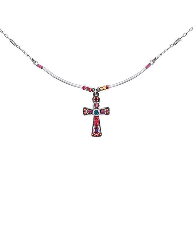 Red and Blue Small Cross Necklace by Ayala Bar