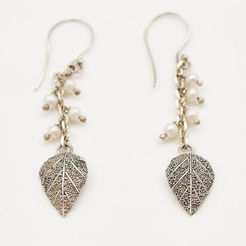 Sterling Silver Leaf Dangle with Four Pearls Earrings
