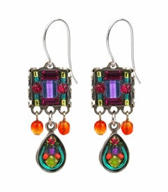 Multi Color Mosaic Square Earrings with Drop by Firefly Jewelry