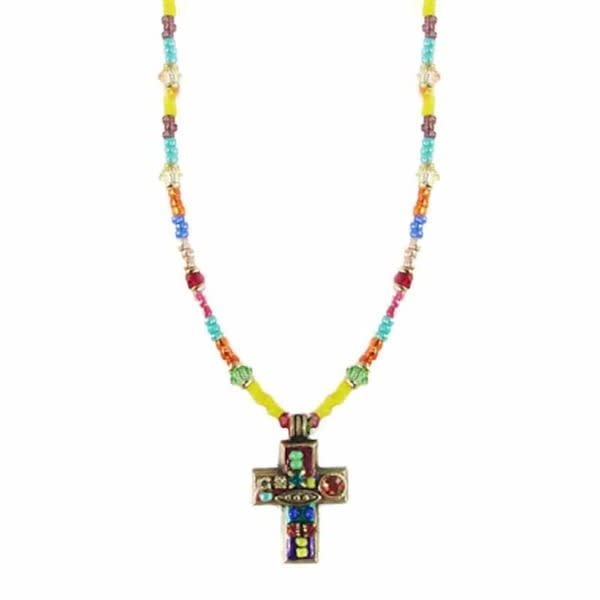 Multi Bright Small Cross Necklace by Michal Golan