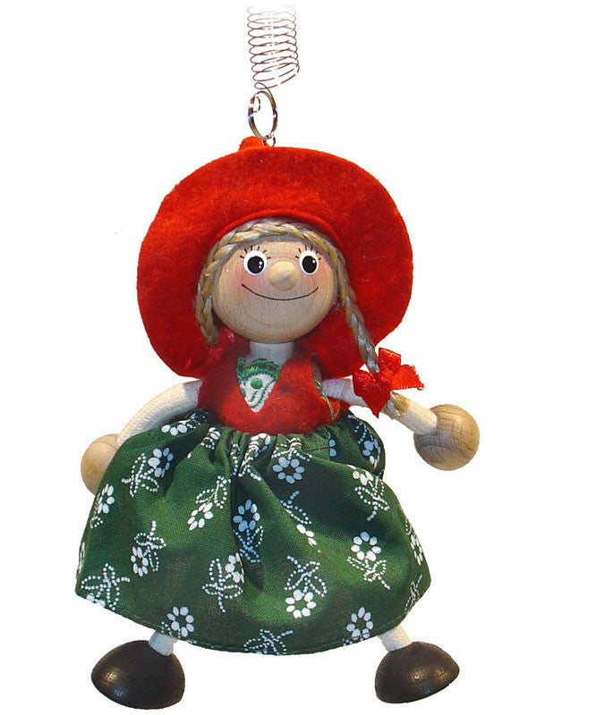 Alpine Girl in Red/Green Handcrafted Wooden Jumpie
