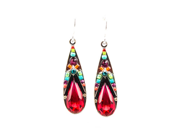 Multi Color Scarlet Camelia Large Drop Earrings by Firefly Jewelry