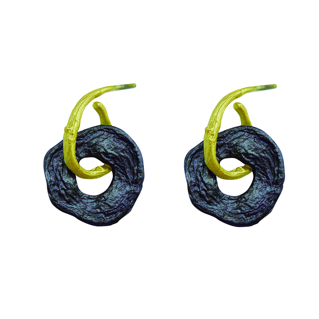 Curly Pod Gunmetal and Gold Post Earrings
