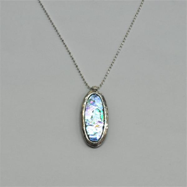 Elongated Oval Washed Roman Glass Necklace