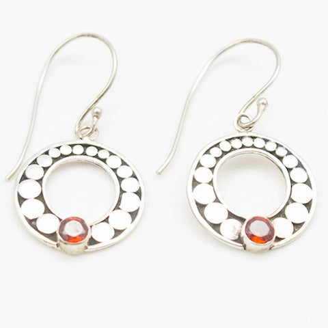 Sterling Silver Round Earrings with Garnet