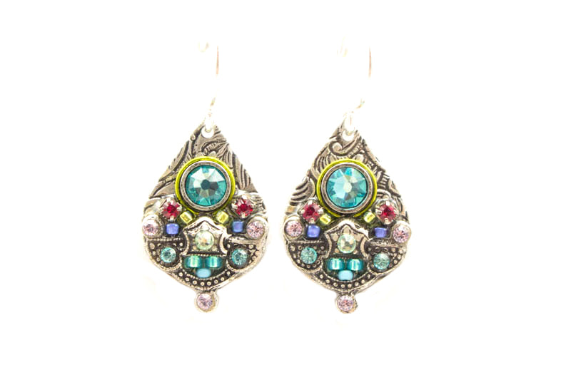 Light Turquoise Mosaic Detailed Drop Earrings by Firefly Jewelry
