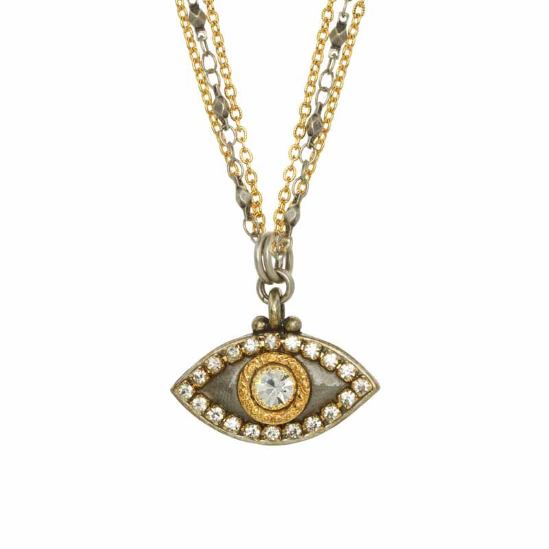 Gray Eye with Clear Center Necklace