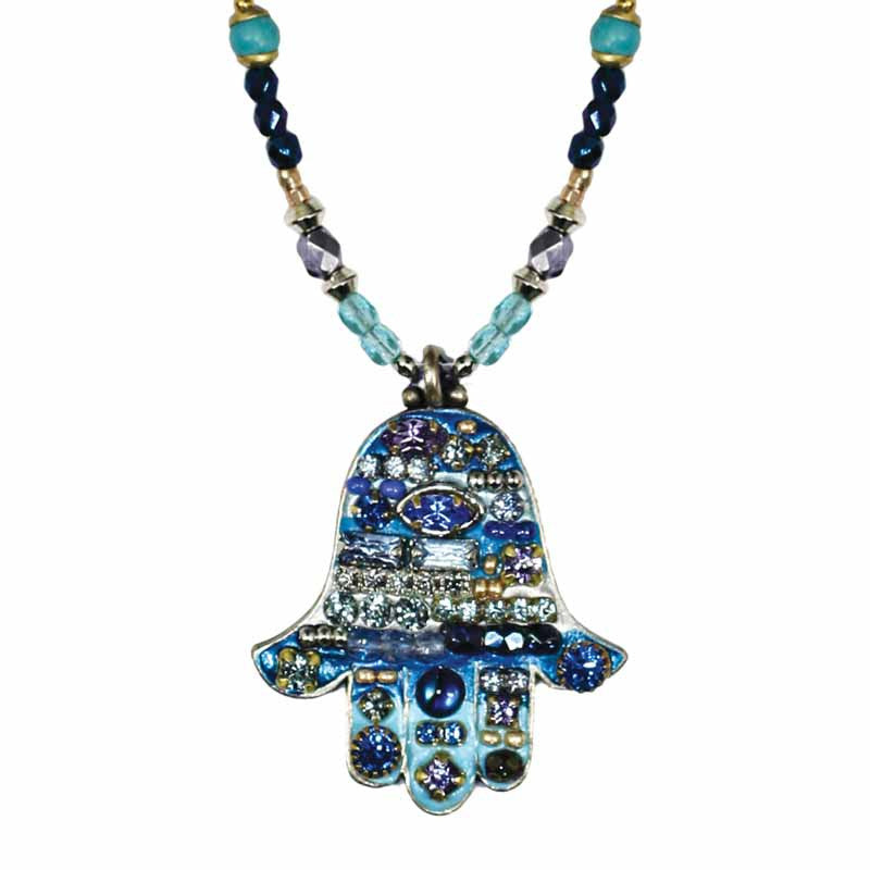 Multi Bright Blue Large Hamsa Beaded Necklace by Michal Golan
