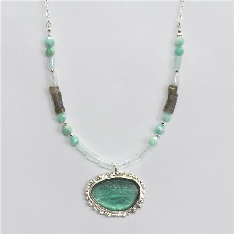 Turquoise Oval Washed Roman Glass Necklace
