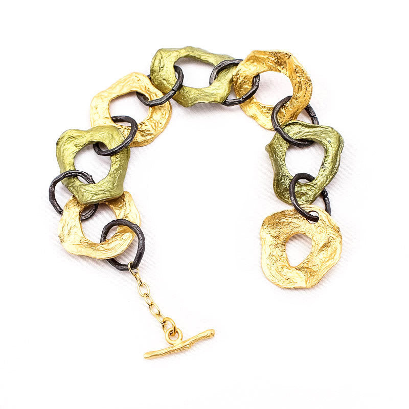Curly Pod Gold and Patina Medium Bracelet