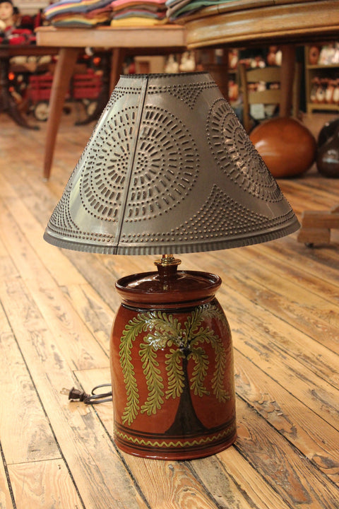 Redware Large Lamp with Tree of Life