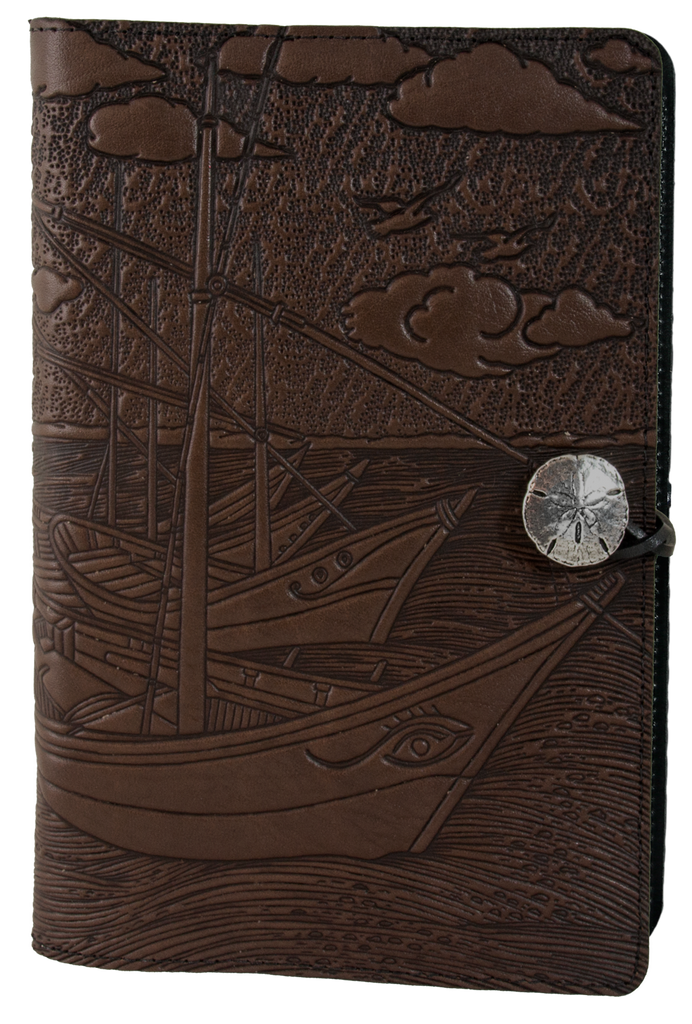 Large Leather Journal -  Van Gogh Boats in Chocolate