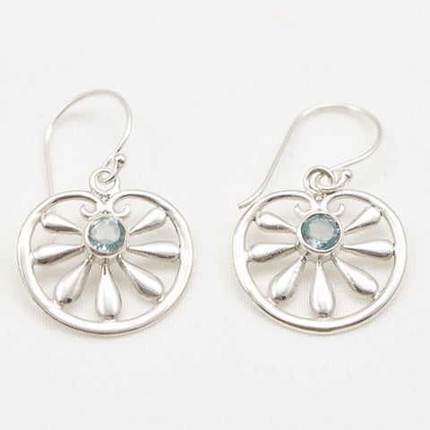 Sterling Silver Floral Dangle with Faceted Blue Topaz Center Earrings