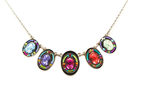 Multi Color Multiple Oval Necklace by Firefly Jewelry
