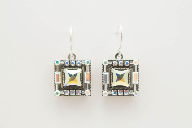 Aurora Borealis Luxe Square Stone Earrings by Firefly Jewelry